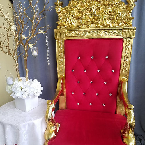 Royal Red Velvet Throne Chair