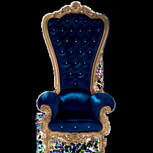 Royal Blue Mistique Velvet Throne Chair