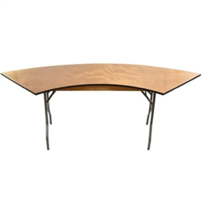 Half- Moon Serpentine Wooden Table