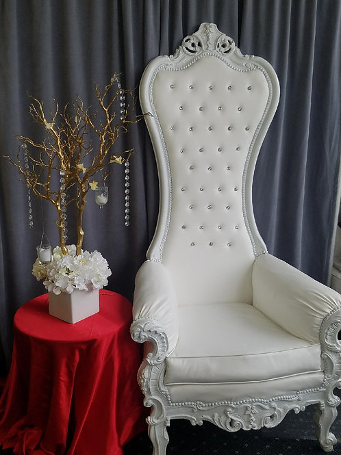 Large All White Tall Throne Chair