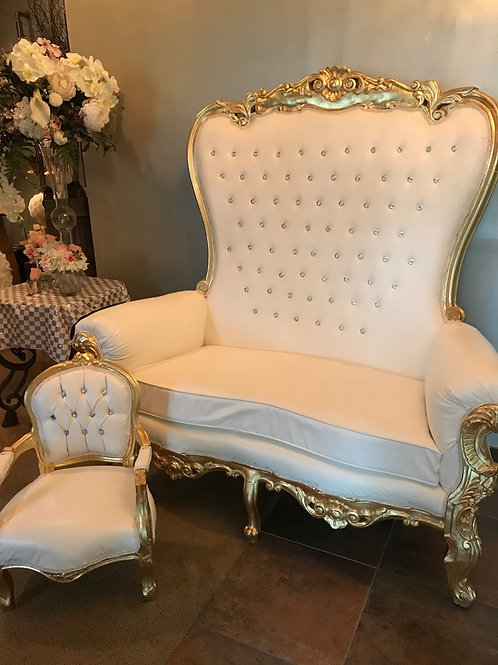 Large White and Gold Throne Loveseat