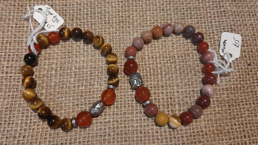 Tigers eye or mookite buddha bead bracelet