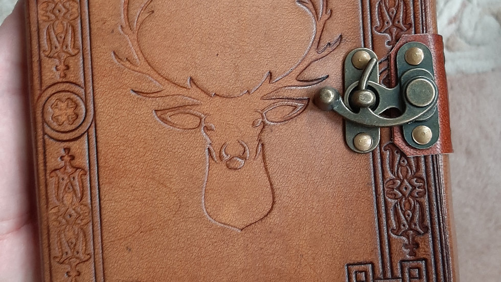 Leather embossed stag journal with lock 6 x 8""
