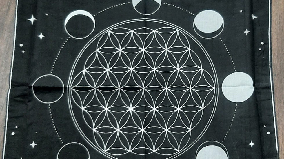 Moon phase with flower of life design alter cloth