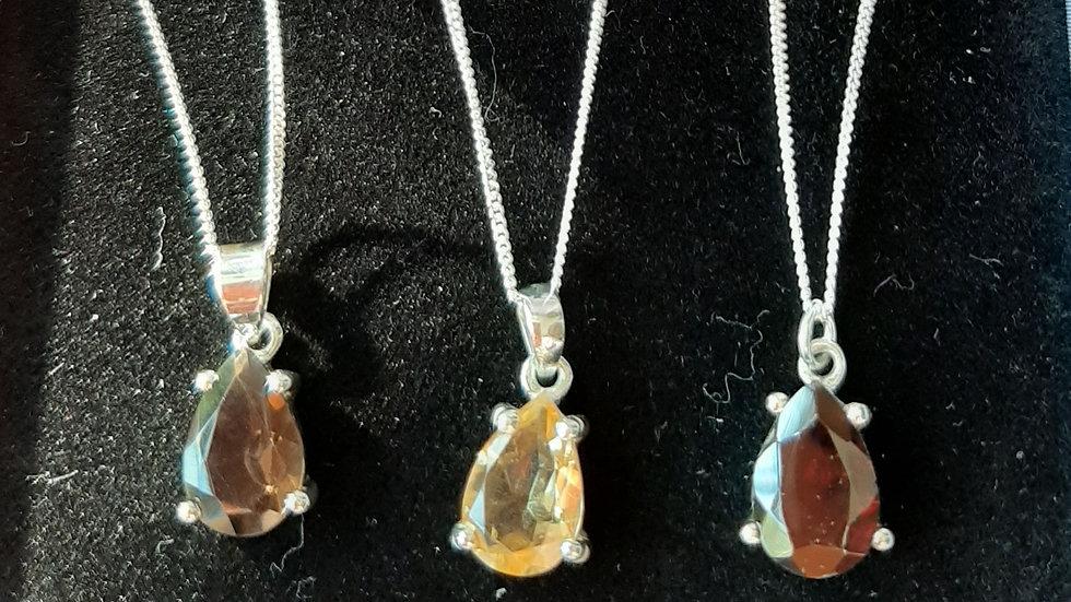 """Semi precious gemstone pendant on 18"""" chain. Sterling silver"""