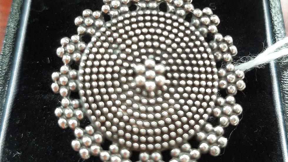 Mandala ring, sterling silver size K