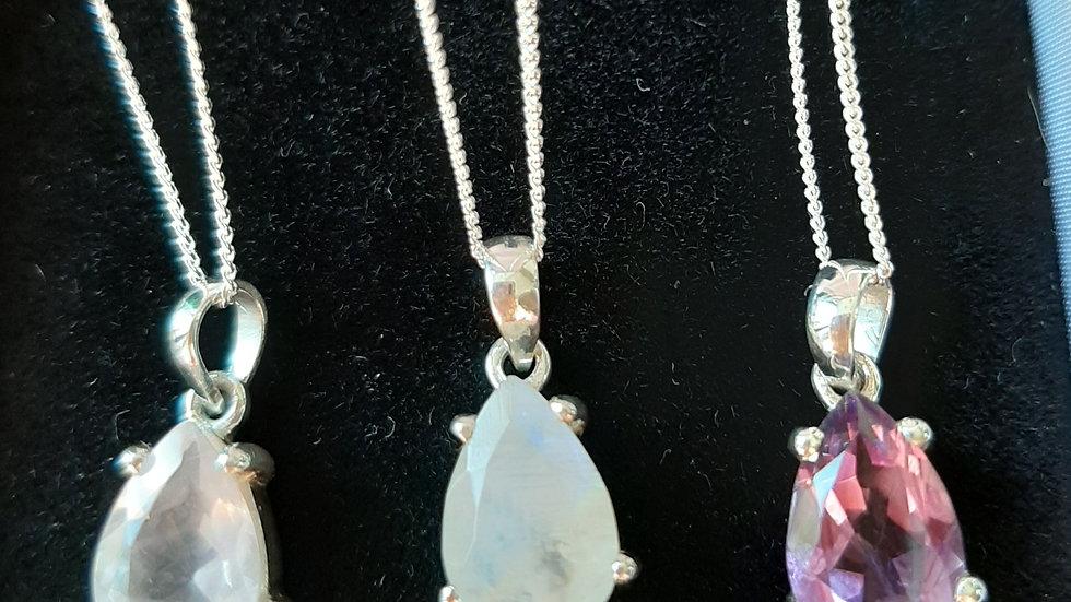 """Semi precious gemstone pendant on 18""""chain. Sterling silver"""