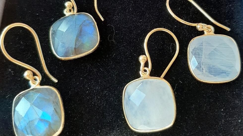 Semi precious gemstone earrings set in brass