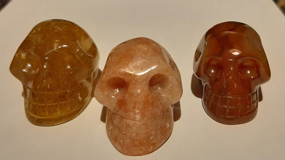 Crystal Skulls 5.5cm x 4cm x 4cm Sunstone, Carnelian, honey calcite