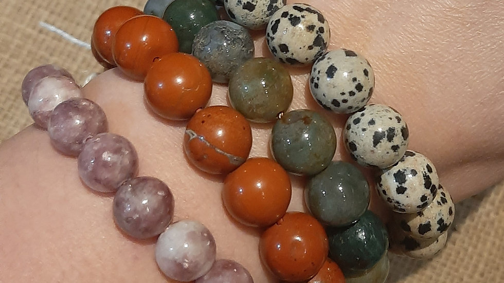 Lepidplite, red jasper, bloodstone, dalmatian jasper bracelets