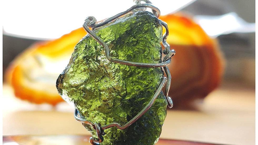 Moldavite Wrap in sterling silver