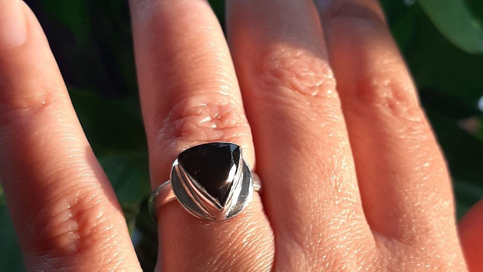 Moldavite Ring set in sterling silver