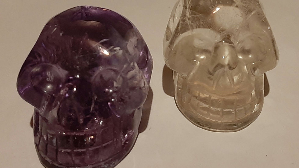 Amethyst and Quartz Crystal Skulls 5cm x 4cm x 4cm