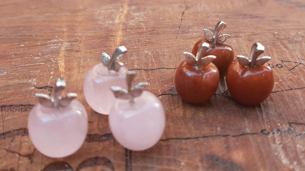 Crystal Apple pendants Rose quartz and Carnelian