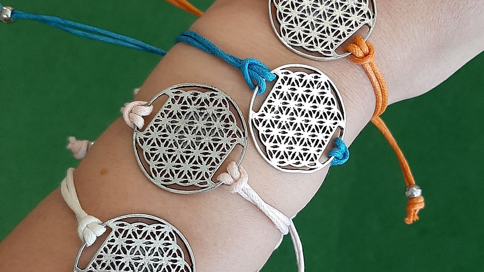 Flower of Life bracelet in nickel free base metal and cotton strap