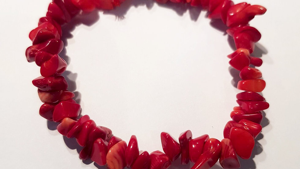 Sea Bamboo Coral Chip Bracelet
