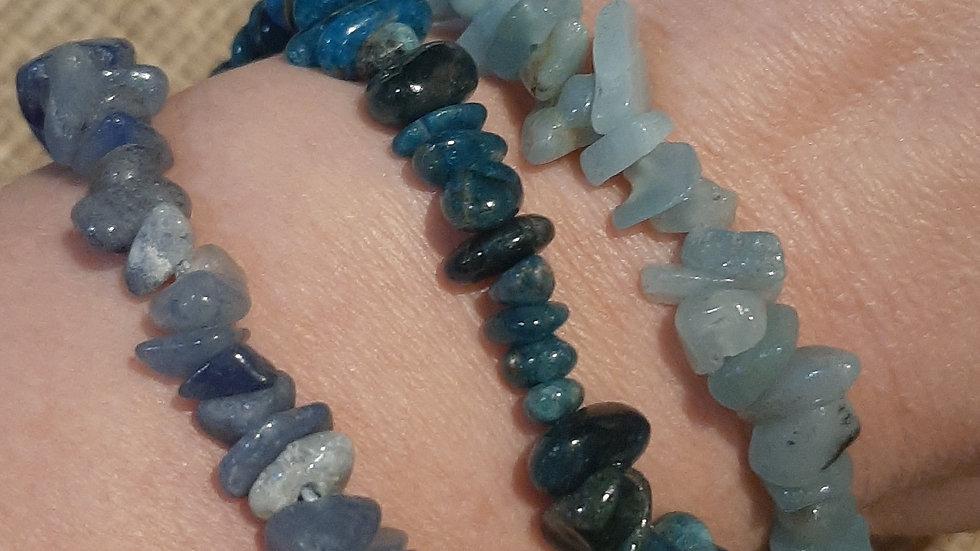 Blue Quartz, Apatite, Amazonite chip bracelets