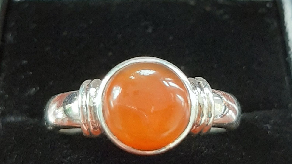 Carnelian set in sterling silver ring size N and R