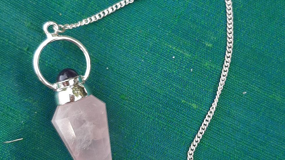 Rose quartz and amethyst, silver pendulum