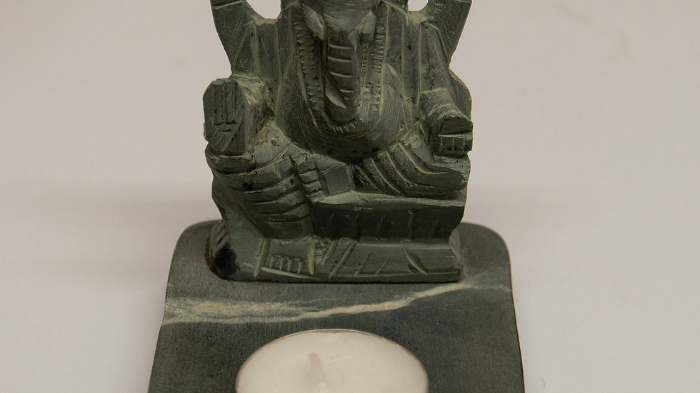 Carved Ganesha Tealight Holder