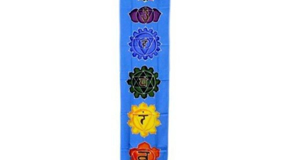 Batik wall art. Chakra Banner Sky Blue183cm x 35cm