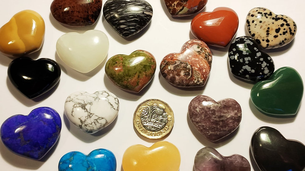 Semi precious crystal hearts