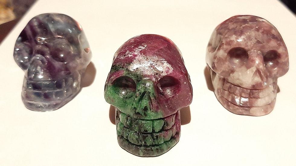 Crystal Skulls 5.5cm x 4cm x 4cm Fluorite, Ruby in zoisite, lepidolite