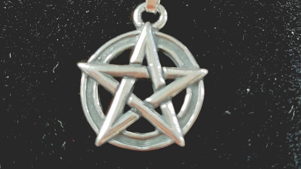 Sterling silver pentacle pendant 2.5cm