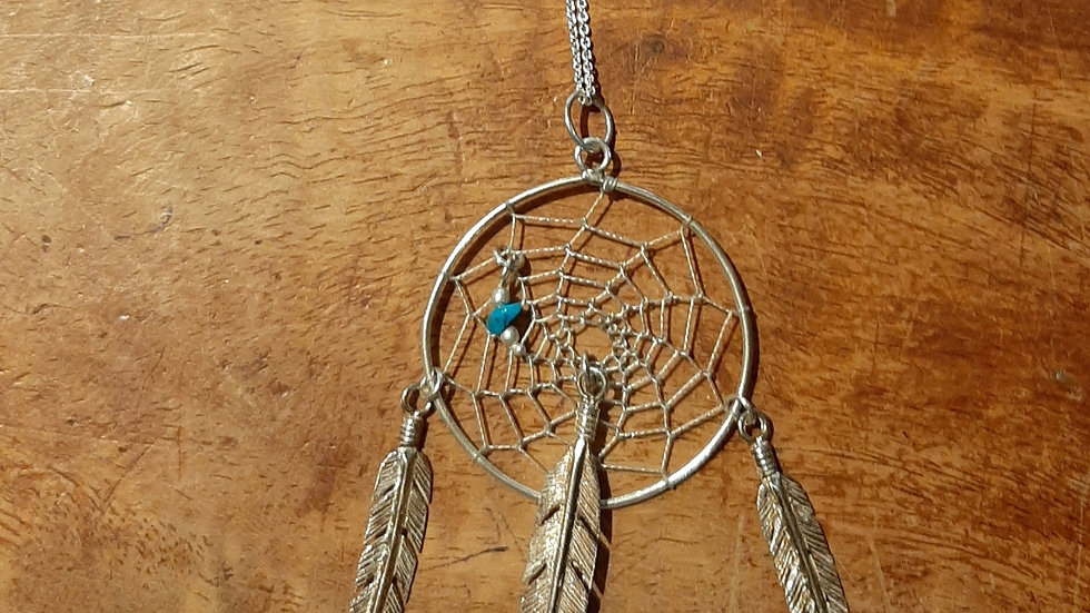 Silver Dream Catcher with turquoise pendant