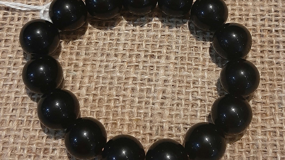 Black obsidian large beads