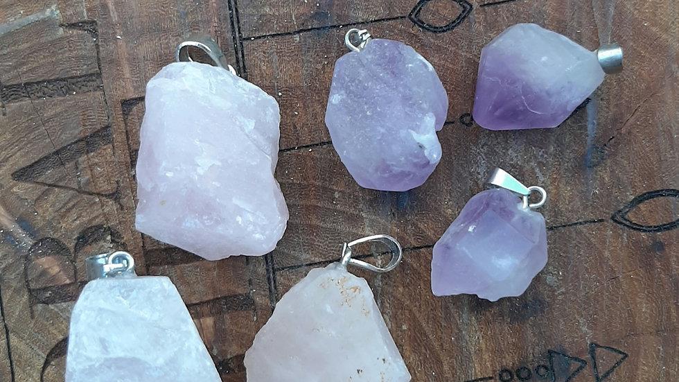 Rose quartz and amethyst rough pendants