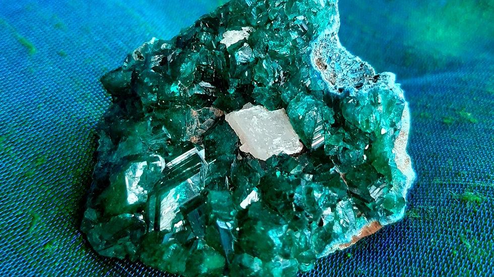 Dioptase cluster with calcite (4.5cm x 3.5cm)