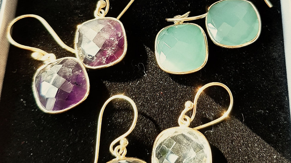 Semi precious gem stone earrings set in brass