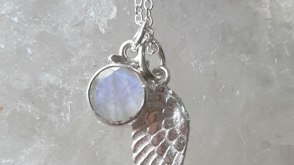Moonstone with feather feather and chain