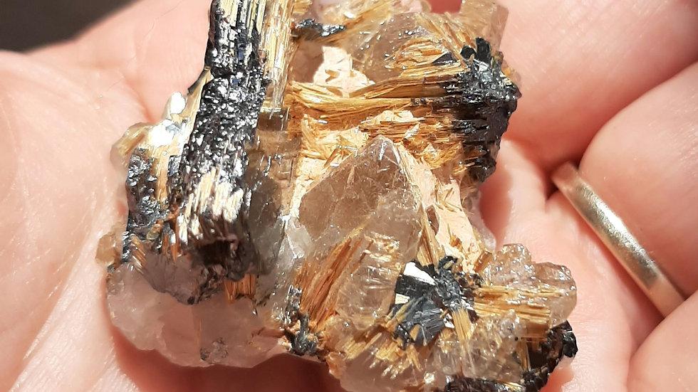 Ruilated Mirror Hematite with Rutiled quartz cluster