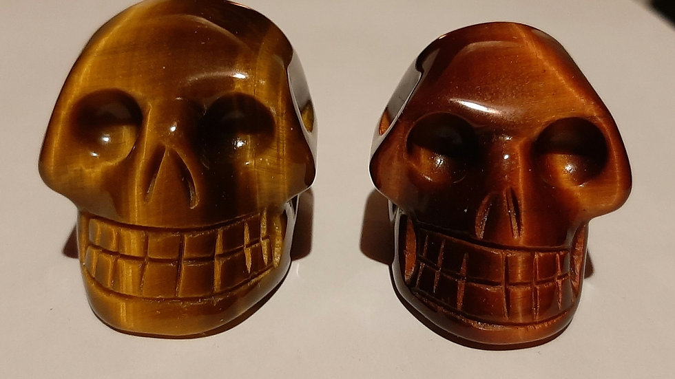Crystal Skulls 5cm x 4cm x 4cm Moonstone, Atlantisite, tigers eye