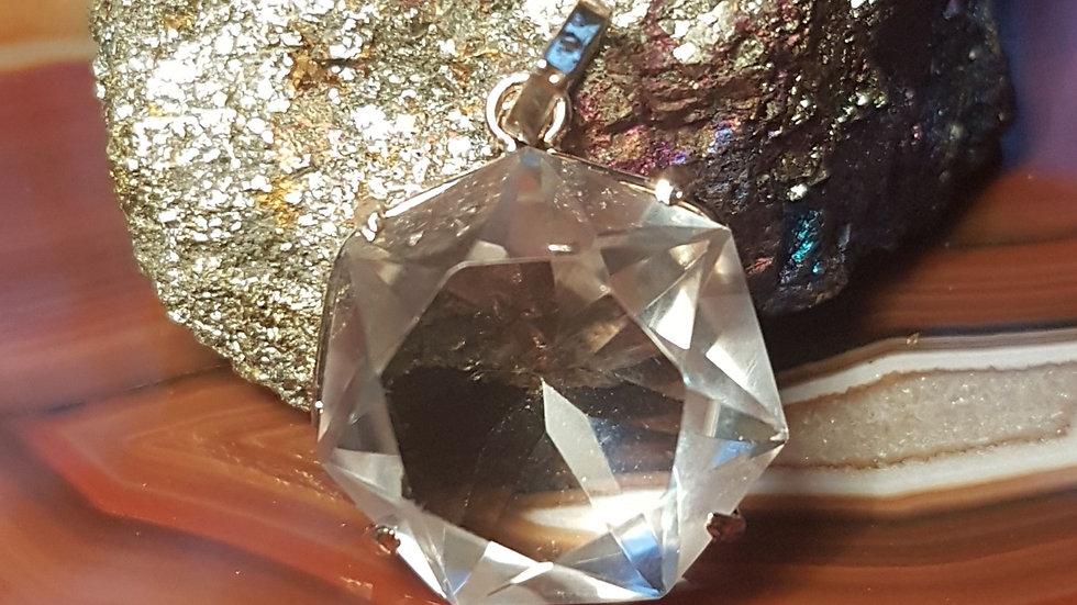 Quartz Crystal Heptagon Pendant.