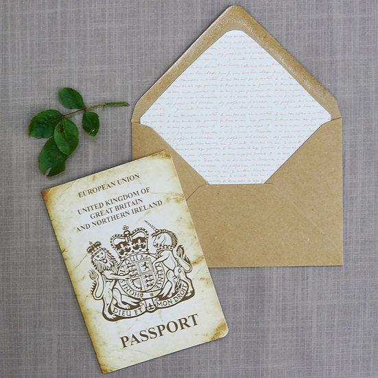 Vintage Passport luxury wedding invitations