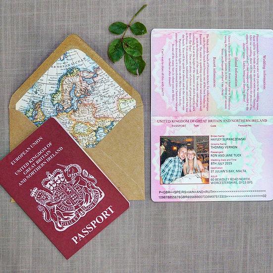 UK Passport luxury wedding invitations