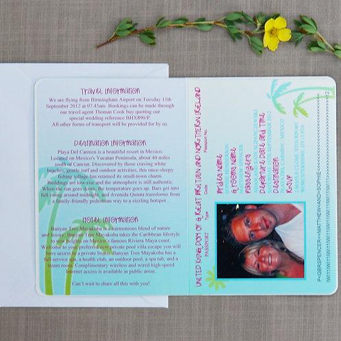 Tropical Passport Wedding Invitation
