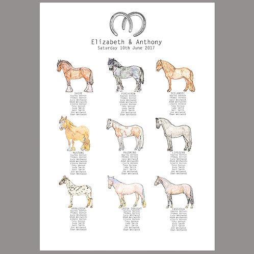 Horse wedding table plan