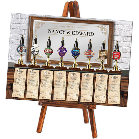 Beer pump wedding table plan