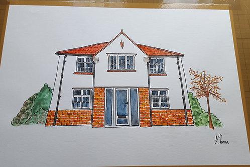 House Portrait Size A4