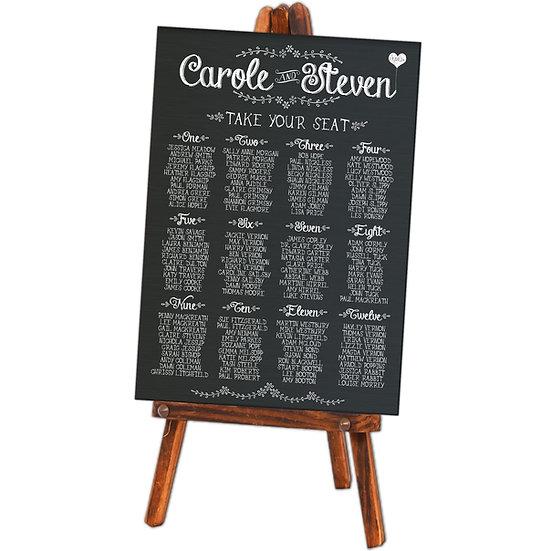 A1 chalk wedding table plans