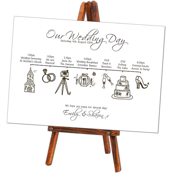 A1 Order of the Day wedding board