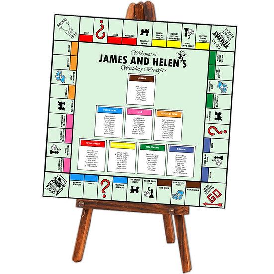 Monopoly board wedding table plan