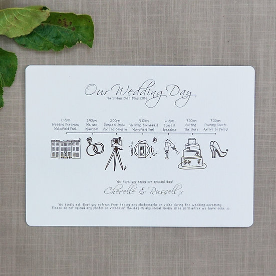 Order of the Day custom made luxury wedding cards