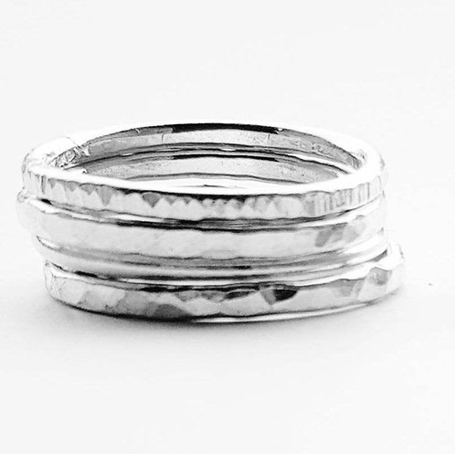 Set of silver stacking rings - 3 Thicker silver stacking rings