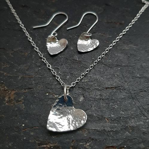 Sterling silver hammered heart set