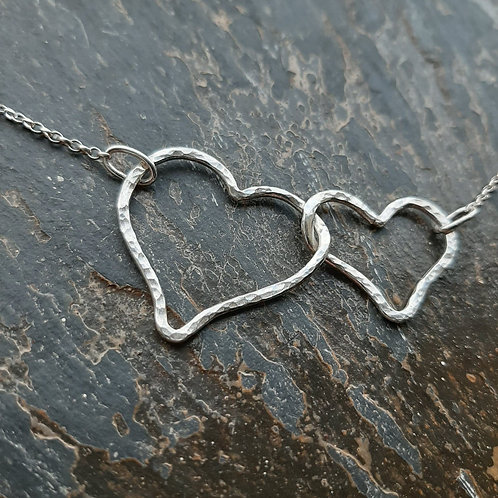 2 sterling silver horizontal hearts